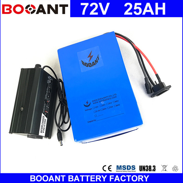 BOOANT 20S 10P E-Bike Li-ion Battery pack 72V 25AH 3000W Electric Bicycle Battery 18650 with 5A charger 50A BMS Free Shipping