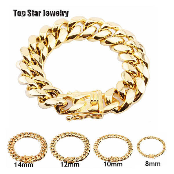 8mm 10mm 12mm 14mm 16mm 18mm tainle teel bracelet 18k gold plated high poli hed miami cuban link men punk curb chain butterfly cla p