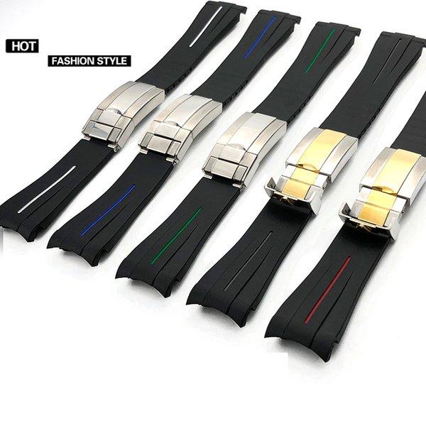 Силиконовая резина ремешок для часов из нержавеющей стали раза пряжка ремешок для часов ремешок для Oysterflex SUB браслет часы человек 20 мм черный красный синий + инструмент