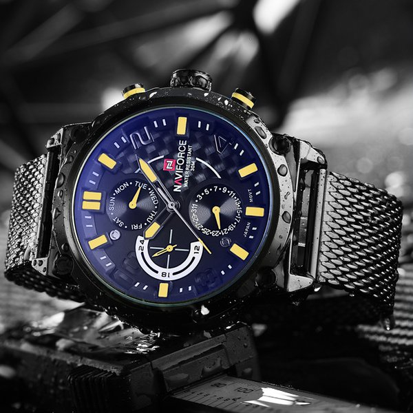 NAVIFORCE Full Steel Men Watches Men's Quartz 24 Hour Date Clock Male Sport WristWatches Relogio Masculino