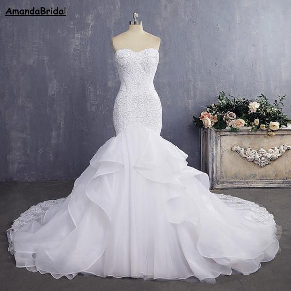 Amandabridal Дешевые Невесты Платье Сексуальная Русалка Свадебные Платья Старинные Кр
