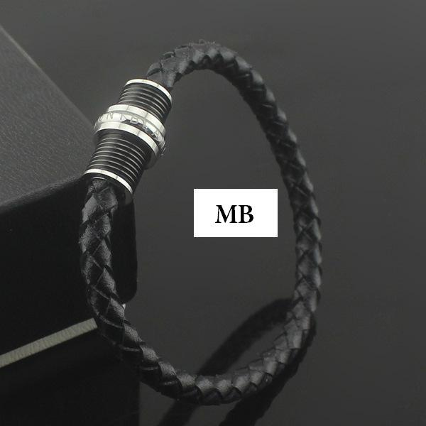 Stainle teel mb bracelet europe 039 mo t popular the choice of high end bracelet black genuine leather chain
