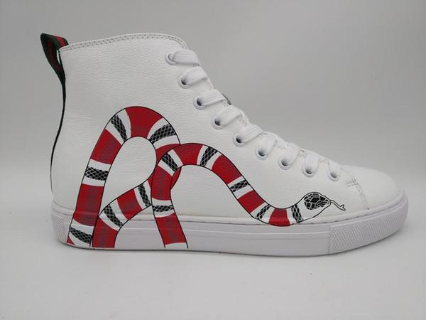 Черный кожаный верх с кроссовками со змеиным принтом Мужская обувь высшего качес