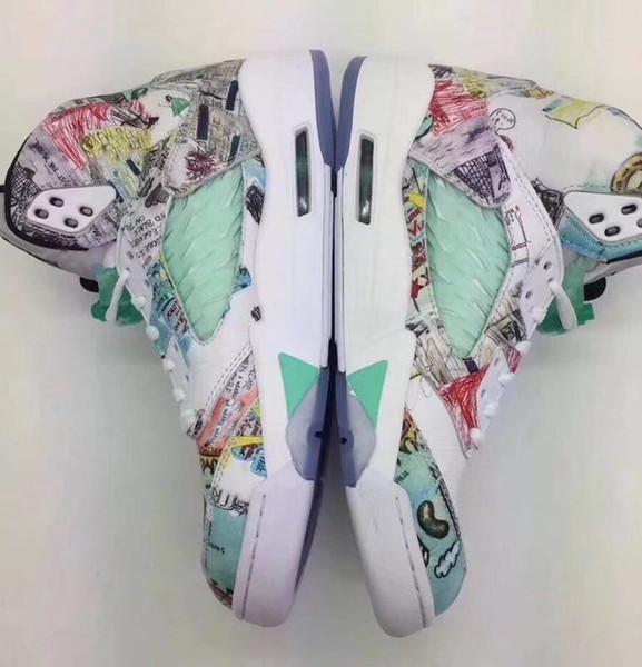Мужчины 5 Крылья баскетбол обувь для продажи многоцветные 5s граффити кроссовки