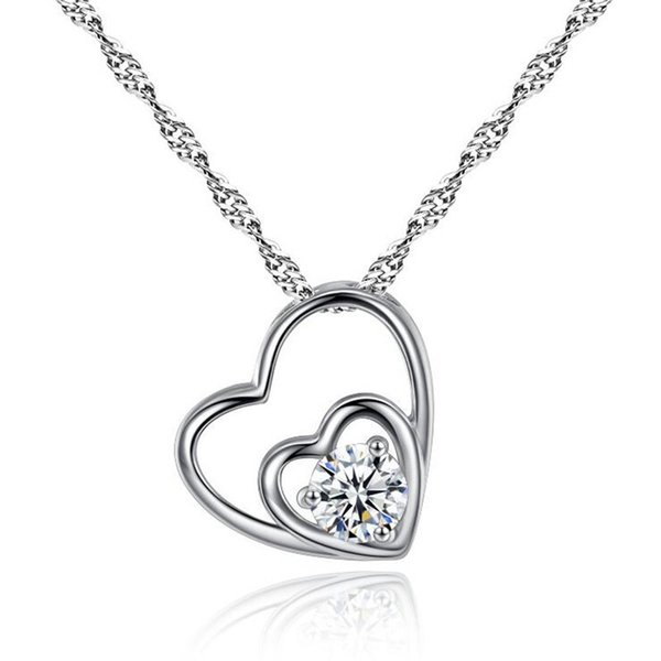 Korean tyle heart ilver necklace women lide heart pendant necklace fa hion locket clavicle chain love necklace nap jewelry
