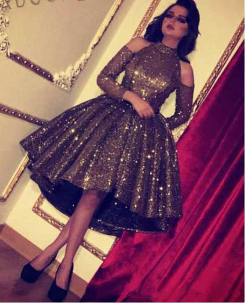 2018 Bling Bling Chocolate Sequin Prom Gowns Crystal Ball Gown Short Homecoming Dresses High Low High Neck Long Sleeve Cocktail Evening Gown