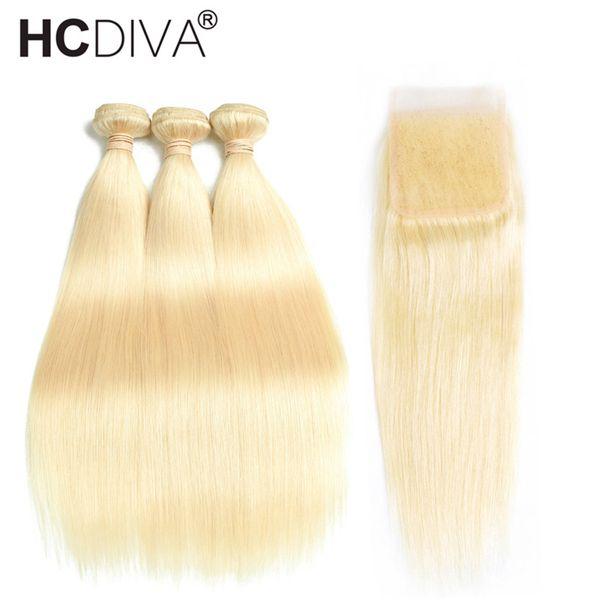 Brazilian Human Hair Weave 3 Bundles with Closure Brazilian Straight Hair Extensions 613 Bundles With Closure 10-28''100% Human Hair Bundles