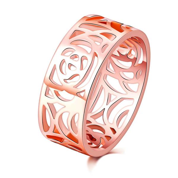 Высокое качество мода модные 8 мм 18 к розовое золото покрытием цветок старинные обручальные кольца для женщин полые дизайн анилло