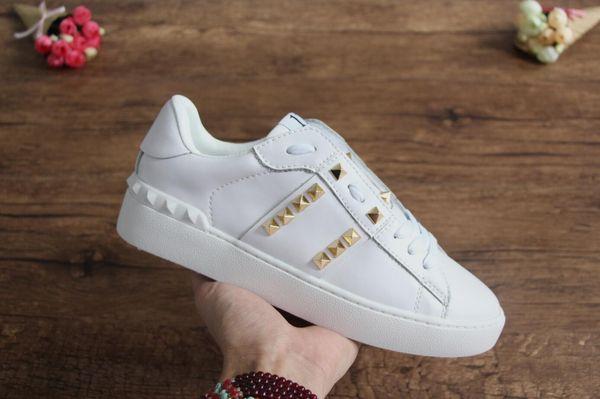 2018 Мода шипованных обувь дизайнер Марка Повседневная обувь Оптовая платье обуви золотые заклепки плоские туфли женщина обуви человек кроссовки леди мальчик девочка обуви