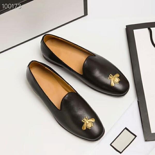 Роскошные бренды оригинальное издание пользовательские высокое качество натуральной кожи удобные здоровые Bee pattern обувь мужская кожаная обувь.