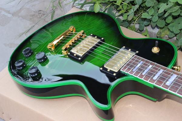 017 cu tom  hop bur t  tandard cu tom electric guitar green binding golden hardware guitarra blue tiger flame gitraar