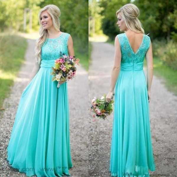 High Quality Turquoise Bridesmaid Dresses A Line Sheer Jewel ...