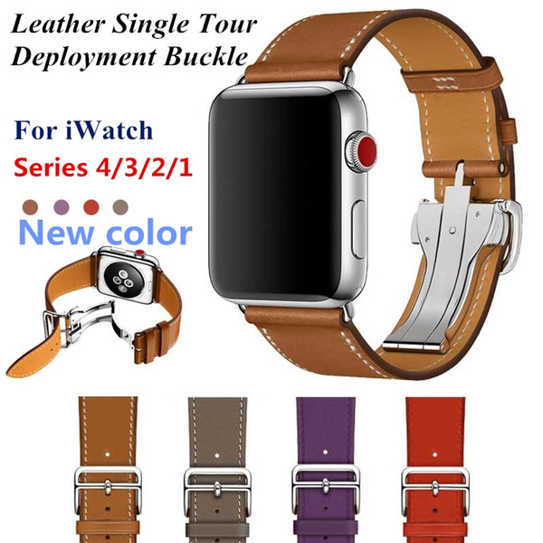 Leather Single Tour Deployment Buckle WITH LOGO 44MM 40MM Replacement Wristband for iWatch Series 4 3 2 1 Belt