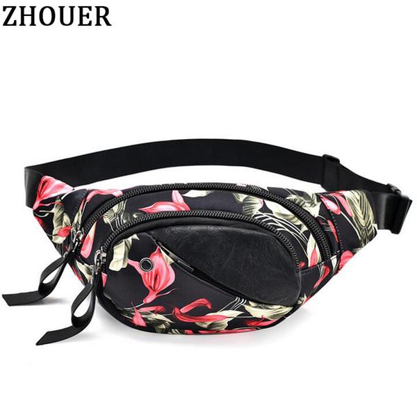 women waist packs bolsos mujer ladies beautiful flower pattern girl gift woman purse phone case waist bags waterproof zp001 (416139515) photo