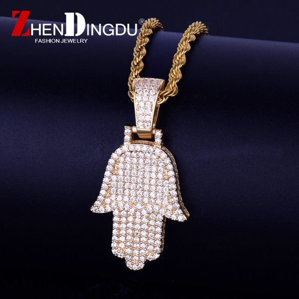 Fatima Hand Pendant Necklace Chain Бесплатная стальная кубинская цепочка Gold Color Cubic Zircon Men's Hip hop Jewe