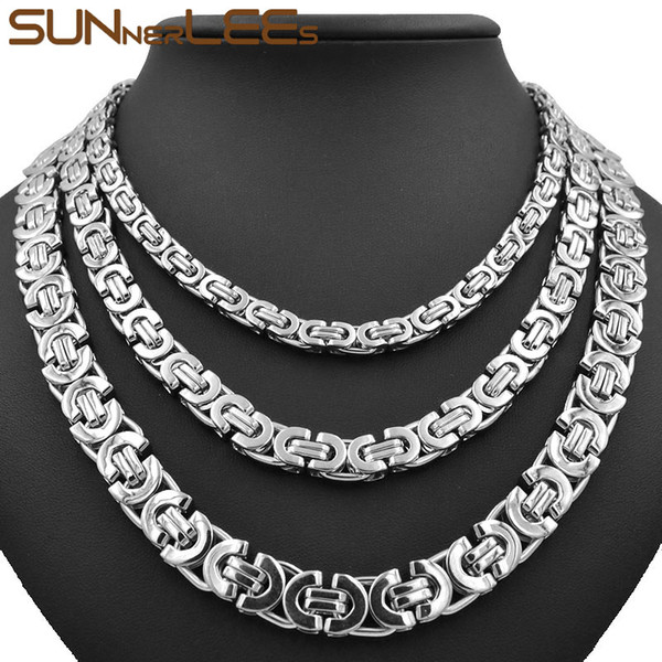 Fashion Jewelry Stainless Steel Necklace 6mm 8mm 11mm Box Byzantine Link Chain Silver Color For Mens Womens SC07 N