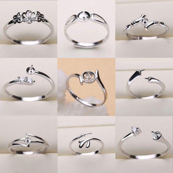 Перл кольцо настройки 925 стерлингового серебра кольцо настройки 9 стили DIY кольцо фото