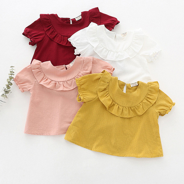NEW arrival kids clothing Hot selling summer Girls Short sleeve solid color Shirt baby kids O-neck girl shirt 100% cotton shirt 4 color