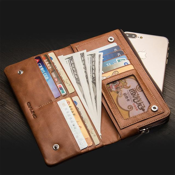 Univer al handmade leather ca e flip cover with card holder for mobile phone up to 6inch