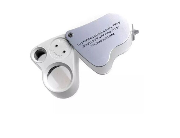 Dual Magnifier Jewelry Loupes 30x 22mm 60x 12mm9889 Magnifier Loupe Magnifying Glass With LED Light Folding Microscope Magnifiers