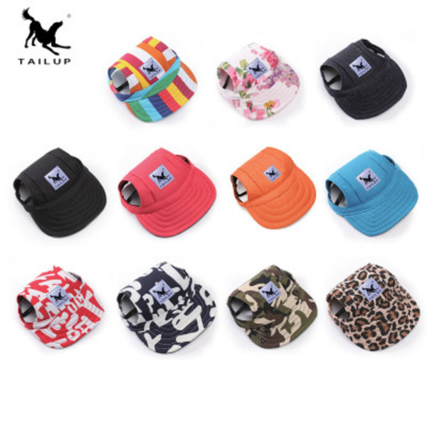 12 color dog hat pet ba eball cap dog port hat vi or cap with ear hole and chin trap for dog and cat pet dog hat for m l xl ize