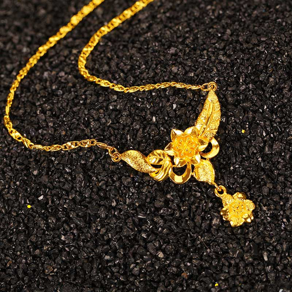 Charming 24K Real Gold Filled Flower Pendant Necklaces Gold Chains For Men Women Luxury Wholesale Hot Sale Choker Party Gift Free Shipping