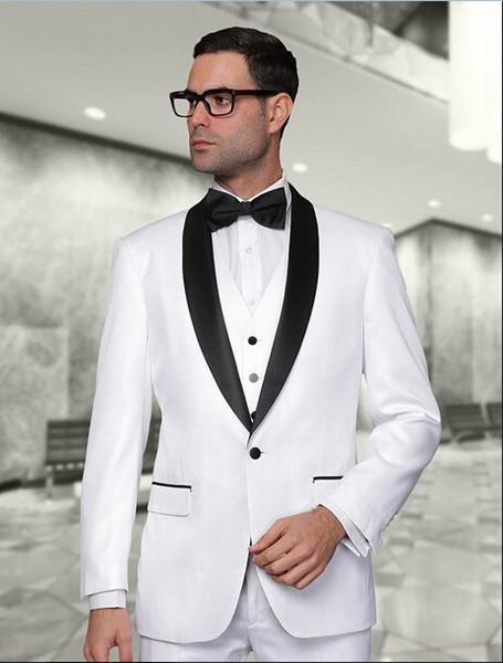 Белые мужские костюмы на заказ для свадебных костюмов Брюки Смокинги для жениха Slim Fit с остроконечным отворотом Лучшие мужские выпускные костюмы (куртка + брюки) фото