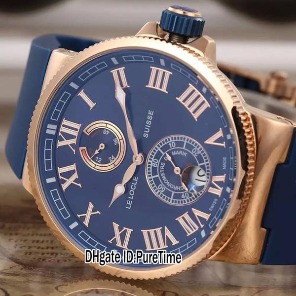 New marine maxi 266 67 3 43 ro e gold blue dial date power re erve automatic men watch blue rubber trap port watche 4 color un 86