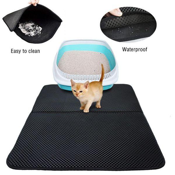 S m l double layer cat litter mat eva double layer cat litter trapper mat  with waterproof bottom layer kattenmand black cat bed mk583