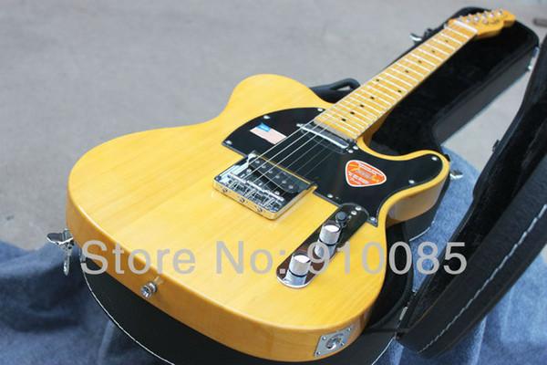 Бесплатная доставка теле гитара высокое качество пользовательские 52 желтый теле