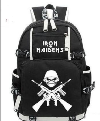 Hot ale iron maiden metallica heavy metal rock band backpack men wome houlder travel bag teenage girl backpack boy lapbag
