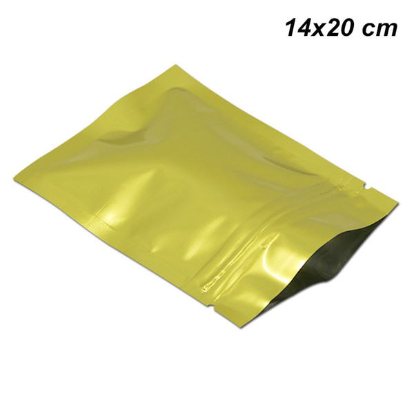Золото 14x20cm алюминиевая фольга молния замок еда закрывающийся пакеты фольги майл фото