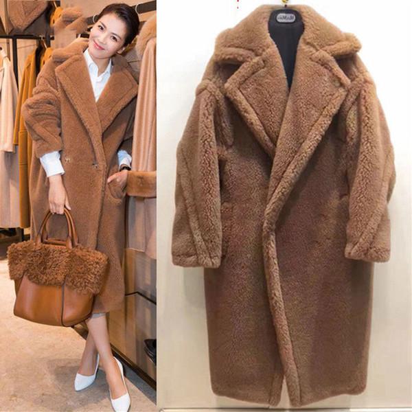 Elegant Winter Coat High Quality Thicken Lambswool Fur Coat Female New Plus Size Women Long Sleeve Loose Warm Faux Fur Coats 37