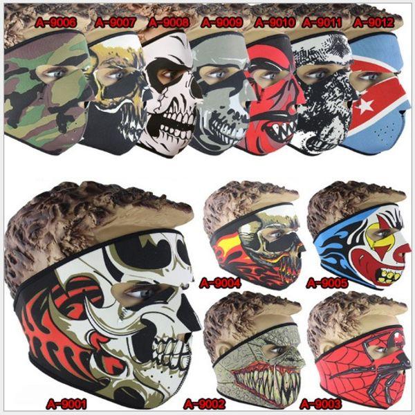 Маска для лица из неопрена полный череп Хэллоуин костюм маска для лица мотоцикл в фото