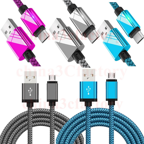 1m 2m 3m 10ft trong metal braided micro u b cable high peed charging u b type c cable for am ung 6 7 for i phone x 8 7 6 5