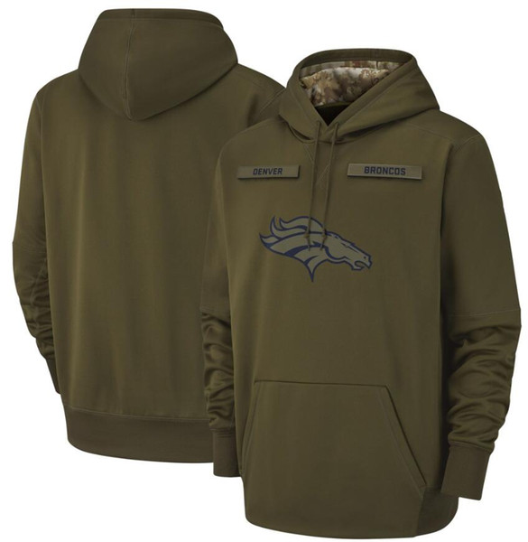 2018 men denver weat hirt bronco alute to ervice ideline therma performance pullover hoodie olive