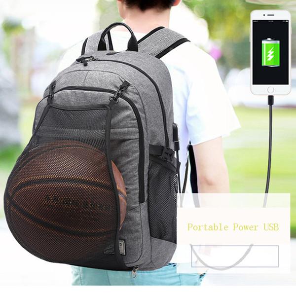 Sport Backpack Men Basketball Backpack School Bag For Teenager Boys Soccer Ball Pack Laptop Bag Football Net Gym Bags Male