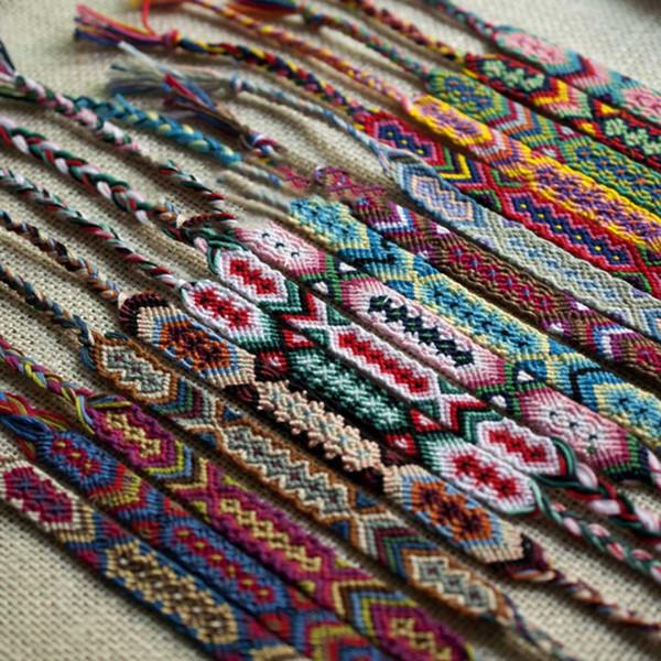 Colorful woven braided bracelet geneva folk tyle hand woven bracelet random friend hip