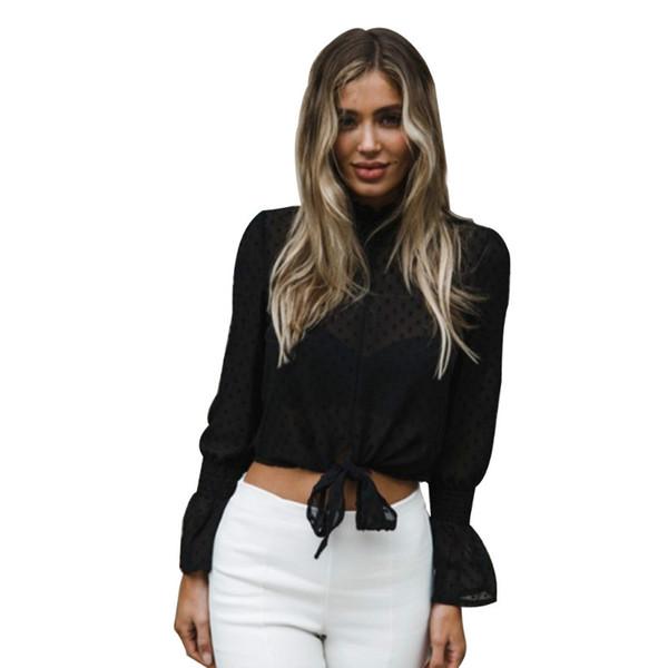 Шикарный принт шифоновая блузка рубашка женская рюшами связать осень блузка Сладкий топ расклешенный рукав сексуальная блузка 2018 SJ1845 фото