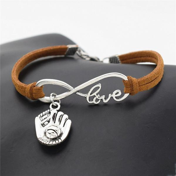 Мода многослойная бесконечность любовь 3D бейсбольная перчатка коричневая кожа замша обернуть браслеты браслеты для женщин мужчин лучший сладкий Шарм ювелирные изделия подарки