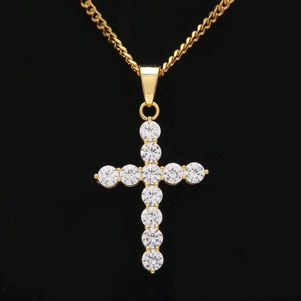 New Hip Hop silver plated necklace jewelry women wedding fashion Cross CZ Cubic Zircon stone pendant necklace