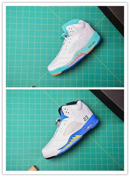 С коробкой 5 V синий оранжевый белый низкий Мужская обувь для баскетбола женщин сп фото