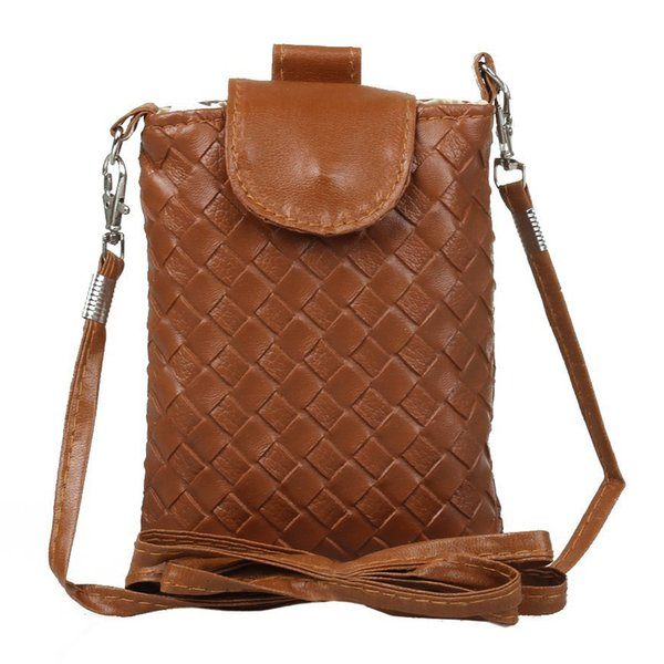 woman handbag purse purse knit pu leather strap shoulder bag light brown (422209277) photo