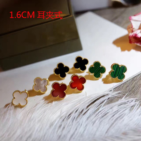 Whol ale brand 925 terling ilver four leaf flower tud earring for women white black red green mother hell clover jewelry 1 6cm ize