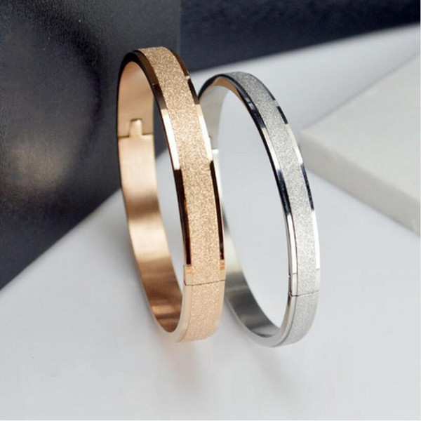 jewelry_designer_bracelets_rose_gold_color_bangles_for_women_men_love_bracelets_bangles_grind_arenaceous_frosted_bracelets