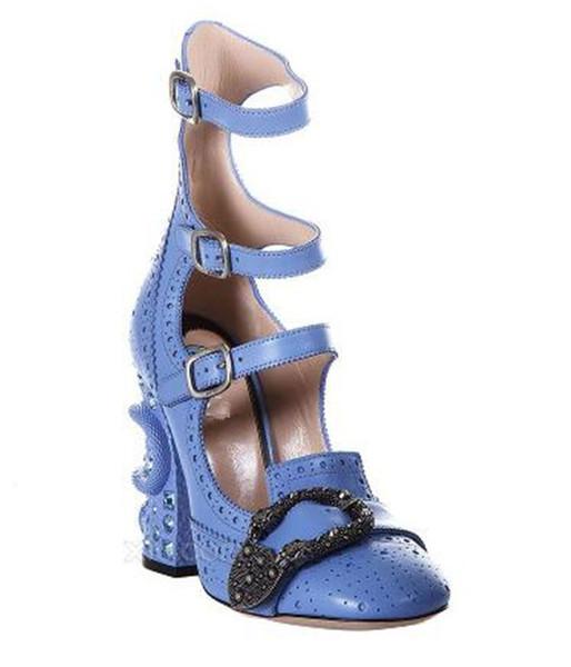 Знаменитости Дизайнер Обувь Роскошные Круглый Носок Ботильоны Пряжка Высокие Ка