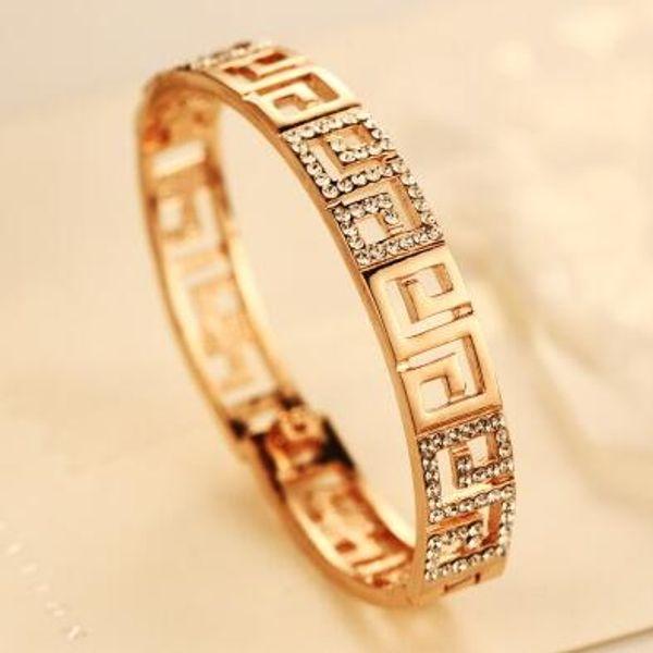 Горячие продажи выдалбливают манжеты браслет для женщин позолоченный Кристалл Ch