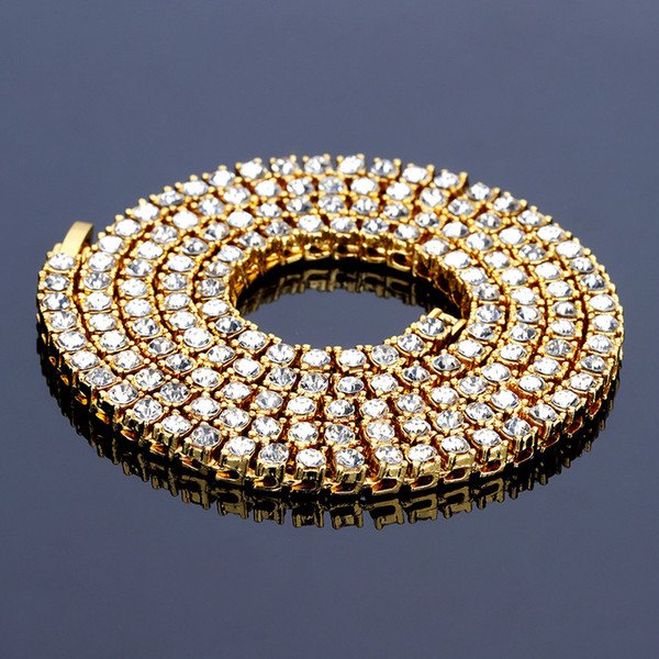 Hip Hop Gold Chain 1 Row 5mm Round Cut Tennis Necklace Chain 24inch Mens Punk Iced Out Rhinestone Chain Necklace