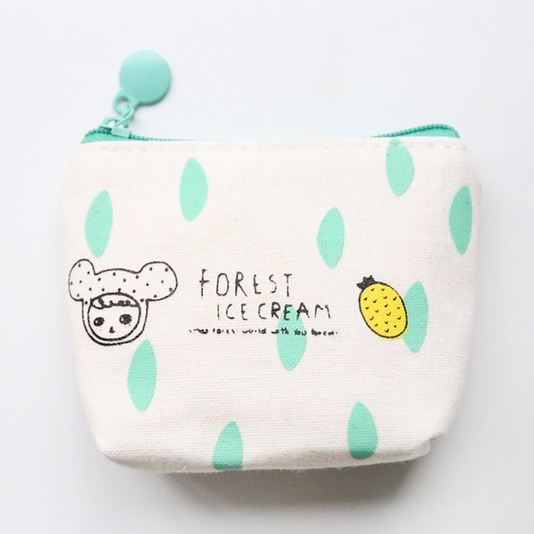 simple girl cute canvas new fabric coin purse small fresh zipper purse students cartoon pattern coin bags lqb-2 (425642472) photo