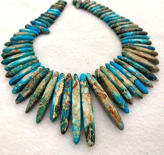 Длинные морские отложения Imperial Jasper gemstone 20-60 мм зубы шипы указал Imperial Jasper ожерелье фото